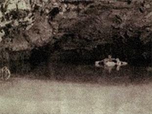 Photographie prise par Emile Gontran Le Régent, au moment ou Bishop, s'enfuit en barque à travers le lac souterrain. Gontran lâchera prestement son appareil pour abattre Bishop,d'une balle entre les deux yeux qui immobilisera momentanément Bishop.